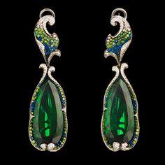 Crassula Earrings 18K white gold 2 tourmalines 32,62 ct 351 diamonds 1,03 ct 172 green diamonds 0,91 ct 97 sapphires 0,61 ct