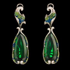 Crassula Earrings 18K white gold 2 tourmalines 32,62 ct 351 diamonds 1,03 ct 172 green diamonds 0,91 ct 97 sapphires 0,61 ct