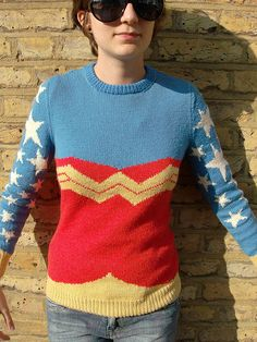 Wonder Woman Jumper pattern. Available FO FREE on Raverly. This is definitely going on my knitting project list