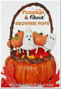 Pumpkin & Ghost Brownie Pops