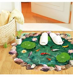 Cheap stickers holiday, Buy Quality decal car stickers directly from China decal macbook Suppliers: 	New Arrival fish ponds Lotus floor coverings sticker 9260 bedroom living room Bathroom wall stickers decals		  	&n