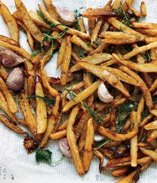 Nigella Lawson adds garlic cloves to give dimension to fresh hot fries. Nigella Lawson, Chef Recipes, Italian Recipes, Healthy Recipes, Dinner Recipes, Chefs, Simply Nigella, Vegetable Sides, Rachel Ray