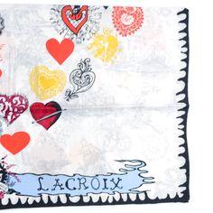 7ebffd093f84 Christian Lacroix Silk Square Scarf Hearts Print from www.comomilano.com