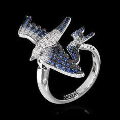 Ring Marina - Mousson Atelier / White gold, Diamonds, Sapphires