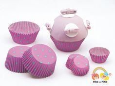 Forma / hartie de briose sau cupcakes mov cu buline