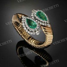 David Webb emerald and diamonds cuff
