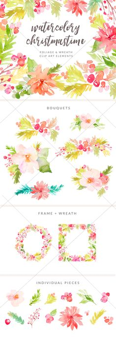 Cute Watercolor Flower Bouquets with Winter Berries. This Winter Foliage Clip Art is Perfect for Your Projects!   angiemakes.com