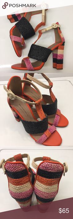 """Zara Orange and Pink Open Toe Sandals Previously loved, in excellent condition. There's minor scuffing on the very front of Sandals, but aren't very noticeable. These sandals are Springy, colorful and fun! The back of these sandals are gorgeous! Perfect for Spring and Summer! Heel height is 4"""". This is best for someone with regular size feet or narrow feet. Ask if there are any questions! Zara Shoes Sandals"""