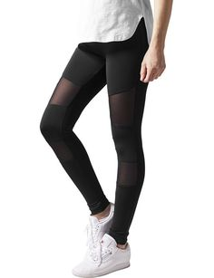 Urban Classics Damen Ladies Tech Mesh Leggings, Schwarz (Black 7), W40 (Herstellergröße: L)
