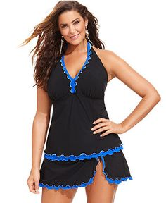 Profile by Gottex Plus Size Ruffle-Trim Halter Tankini Top & Ruffle Swim Skirt - Swimwear - Plus Sizes - Macy's