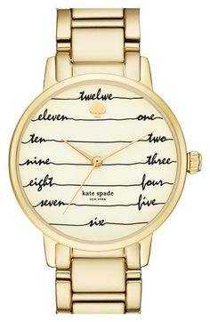 Free shipping and returns on kate spade new york 'gramercy - chalkboard' bracelet watch, 34mm at Nordstrom.com. Flowing cursive indexes offer whimsical timekeeping on the three-hand dial of this sophisticated bracelet watch from kate spade.