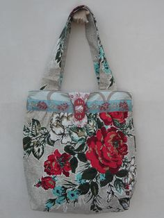 Purse made from Vintage bark cloth and vintage Bakelite buckles