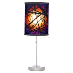 Stained Glass Moon Abstract Lamp