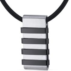 Mens Stainless Steel Pendant with Raised Black Stripe Accents on Black Cord Necklace Peora. $24.99. Save 80% Off!