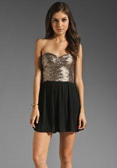 MINKPINK The Shining Sequin Mini Dress in Gold/Black
