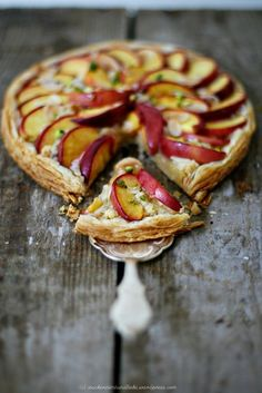 Nectarine and pistachio tart with almond cream (frangipane).  This recipe lists some butter but you can replace that with a tablespoon of good quality oil or non-hydrogenated margarine.  Really easy and really beautiful!