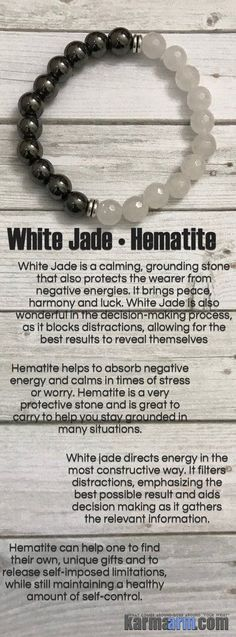 White Jade is a calming, grounding stone that also protects the wearer from negative energies. It brings peace, harmony and luck. White Jade is also wonderful in the decision-making process, as it blocks distractions….. Hematite is used to improve relationships. If you need your personal relationship to be better, wear hematite.    ..…..Beaded Bracelets. Yoga Chakra Mala Stretch Jewelry. Energy Healing Crystals Stacks. Handmade Reiki Mala. Mens Womens…..
