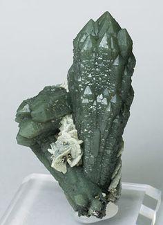 "Quartz (variety prase) with Calcite-Dolomite Huanggang Mines, Hexigten Banner (Kèshíkèténg Qí), Ulanhad (Chifeng), Inner Mongolia Autonomous Region  China (2012)  Specimen size: 8 × 4.4 × 3.9 cm = 3.1"" × 1.7"" × 1.5"""