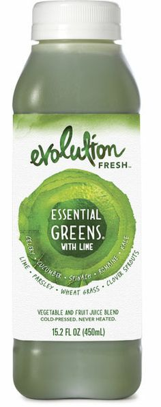 evolution fresh essential greens with lime: 8 celery stalks, 1/4 cucumber,  3 leaves of spinach, 1 leaf of romaine, 2/3 leaf of kale, 1/6 lime, snip of parsley, 49 blades of wheat grass, snip of clover sprouts