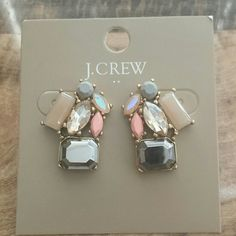 NWT J.Crew statement earrings NWT J.Crew statement earrings with nude, silver, light pink, champagne, iridescent & light gray stones J. Crew Jewelry Earrings