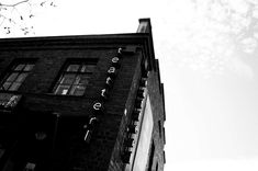 #ambient #black #black and white #brick #brick wall #bricks #dark #finland #industrial #neon #neon lights #neon sign #photography #sky #small town #summer #teatteri #theater #town #wallpaper #window 4k