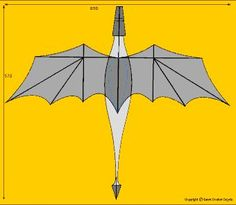 Building plans of my dragon kite, own design Bunny Origami, Dinosaur Origami, Origami Butterfly, Chinese Kites, Chinese Art, Kite Building, Building Plans, Los Dreamcatchers, Dragon Kite