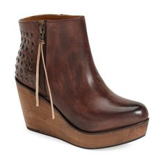 """Bed Stu 'Ghent' Wedge Platform Bootie, 3 1/2"""" heel ($185) ❤ liked on Polyvore featuring shoes, boots, ankle booties, shoe's, ankle boots, teak rustic leather, wedge boots, platform ankle boots, platform boots and high heel booties"""