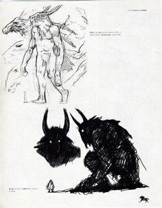 concept art shadow of the colossus artbook HD collection ico Fumito Ueda shadow of the colossus artbook Fantasy Drawings, Fantasy Art, Alien Concept Art, Fantasy Beasts, Fantasy Monster, Dog Tattoos, Tumblr, Video Game Art, Fauna