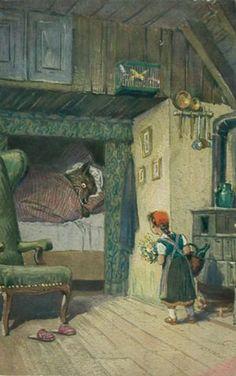 Vintage Grimm Fairy Tale Art | Postcard Vintage-Fairy Tale Illustration-Little Red Riding Hood ...