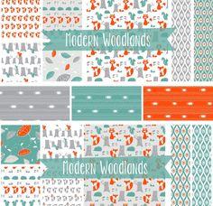 Modern Woodland Fabric Collection Creatures Nursery Animals Theme
