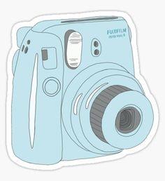 """Kawaii Polaroid Instax Blue"" Stickers by PeachPantone Stickers Cool, Stickers Kawaii, Red Bubble Stickers, Tumblr Stickers, Printable Stickers, Logo Starbucks, Starbucks Frappuccino, Macbook Stickers, Phone Stickers"