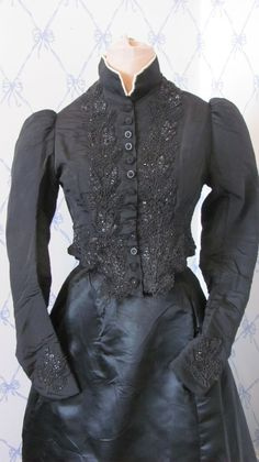 8f31b2e2487126 Details about Beautiful Antique Victorian Black Beaded BODICE Jet Buttons  Silk top blouse