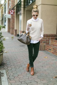 tan sweater, green skinnies, brown booties