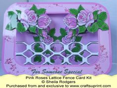 Lattice Fence Card - Pink Roses