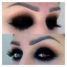Black eyeshadow makeup | Hair and makeup | Pinterest ❤ liked on Polyvore featuring beauty products, makeup, eye makeup, eyeshadow, eyes and beauty