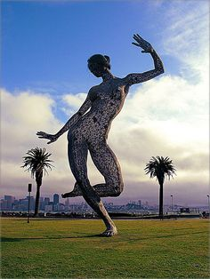 Dance Bliss ~   a 40-foot steel sculpture of a woman by Marco Cochrane and company that is on Treasure Island ~ San Francisco California.