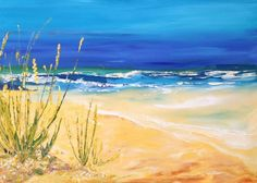 ARTFINDER: Tides and Dunes by Emma Sian Pritchard - An original painting in acrylic paint on canvas 92cm x 65cm Bright fresh colours of the sea and sky. Packaged in bubble wrap and cardboard to the UK, Chan...
