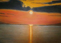 Abendstimmung am Wasser, Pastell auf Papier, BxH 48x36cm