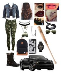 """""""Zombie apocalypse (Jackie)"""" by jackelynponce ❤ liked on Polyvore featuring Keds, Gucci, MICHAEL Michael Kors, Charlotte Russe, Topshop, maurices, Bling Jewelry, ASOS and Louisville Slugger"""