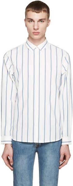 A.P.C. White & Blue Striped Axel Shirt