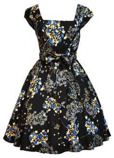 Striking Blue Floral on Black Swing Dress £40