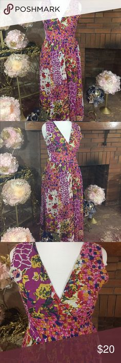 Pooja Apparels maxi dress sz  L Multi color floral pattern Pooja Apparels maxi dress sz L. Has elastic band waist. Floor length. Like new condition. Please check out all pictures for best description of the items. Ask me any questions. Thanks for looking and happy shopping. Pooja Apparels  Dresses Maxi
