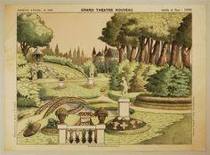 Imagerie d'Épinal, No 1680. Grand Théâtre Nouveau. Jardin et Parc - Fond.