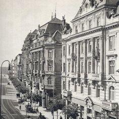 Stefanikova_ulica_s_elektrickovou_trasou_staraba. Bratislava, Old Street, Nostalgia, Street View, Europe, Squares, Places, Times, Pictures