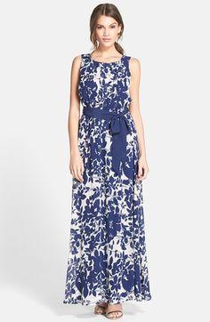 Eliza J Floral Print Chiffon Maxi Dress available at #Nordstrom