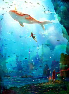 Big Fish and Begonia Art And Illustration, Fantasy World, Fantasy Art, Princesas Disney Dark, Yuumei Art, Animation, Arte Pop, Big Fish, Fantasy Landscape