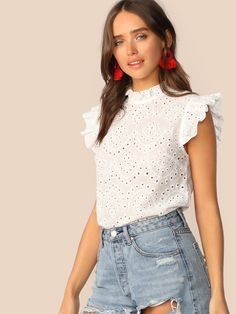 Mock-Neck Ruffle Trim Embroidery Eyelet Top Boho White Pink Solid Sleeveless Stand Collar Blouse Women Tops and Blouses Sexy Blouse, Collar Blouse, African Traditional Dresses, Emo Dresses, Party Dresses, Eyelet Top, Aliexpress, Elegant Woman, Ruffle Trim