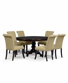 Bradford 7-Piece Round Dining Room Furniture Set with Upholstered Chairs Macy's