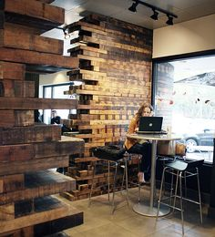 SBUX : 23rd & Burnside - Portland, OR on Behance Reclaimed Wood Fireplace, Wood Fireplace Surrounds, Salvaged Wood, Cafe Design, House Design, Wood Partition, Interior Decorating, Interior Design, Wood Interiors