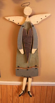 """Folk Art Wooden Angel Wall Plaque Primitive 28.5"""" in Collectibles, Holiday & Seasonal, Christmas: Current (1991-Now)   eBay"""